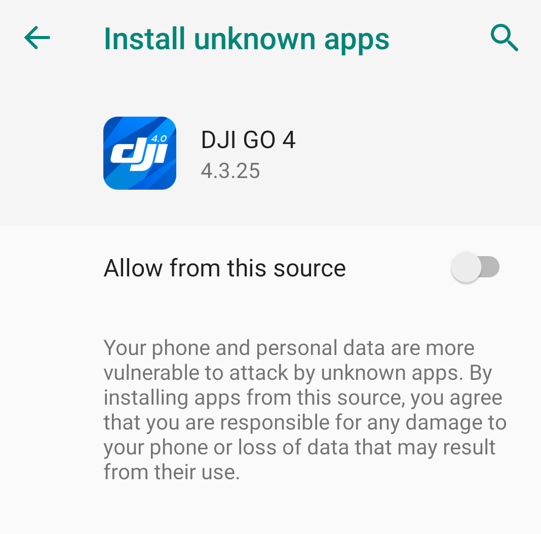 Prompt asking the user for allowing unknown applications